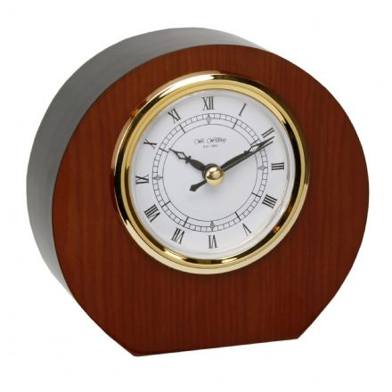 Mahogany Desk Clock with Engraving Plate